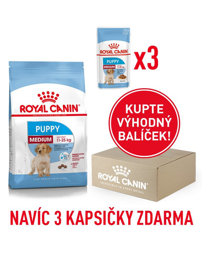 ROYAL CANIN Medium Puppy 1kg box + 3 kapsičky 140g zdarma