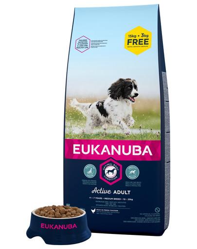 EUKANUBA Active Adult Medium Breed Bohatá na čerstvé kuřecí 18 kg